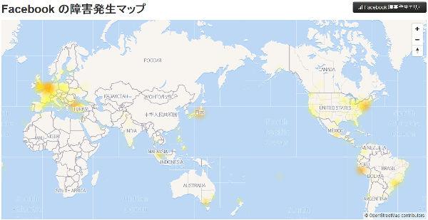 Facebook 障害発生マップ